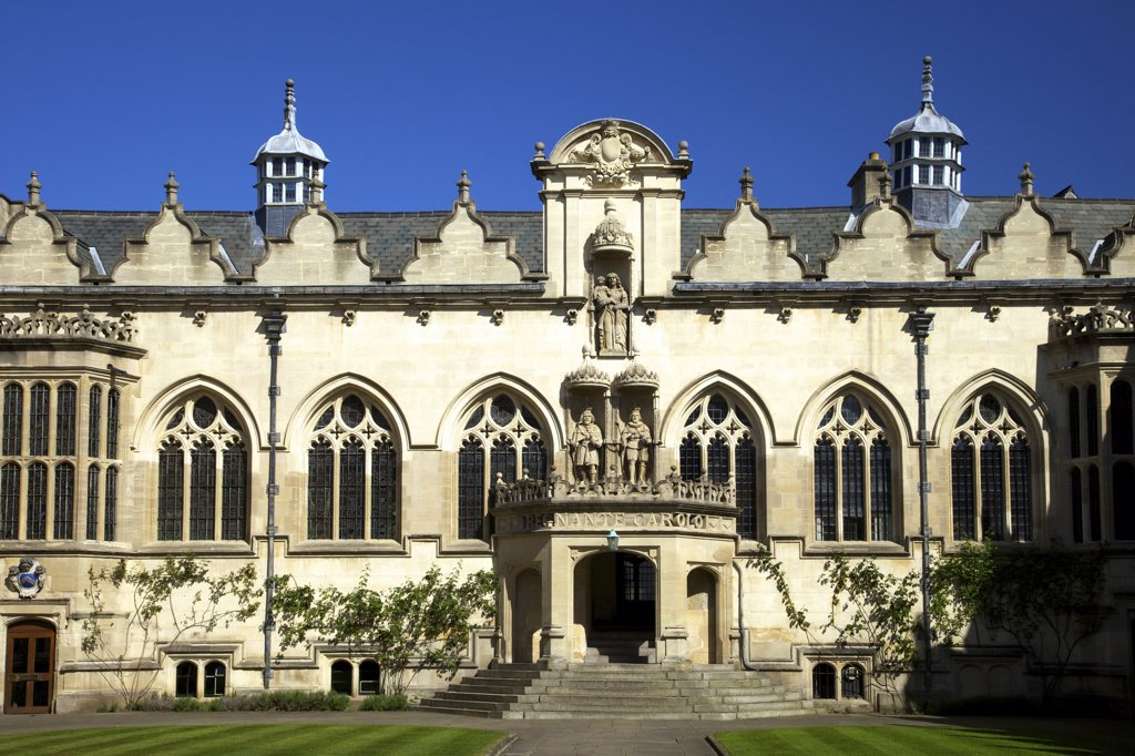 Facade of a building, Quad Building, Oriel College, Oxford University, Oxfordshire, England : Stock Photo