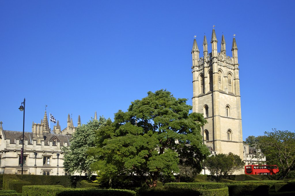 Stock Photo: 4042-1657 Bell tower of a college, Magdalen Great Tower, Magdalen College, Oxford University, Oxfordshire, England