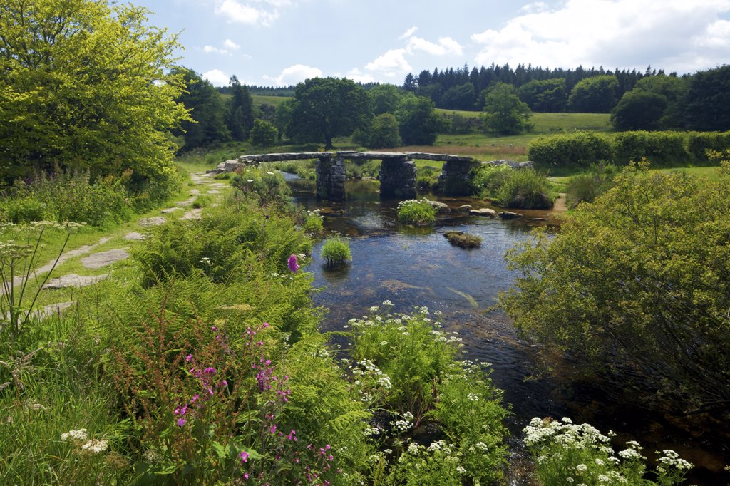 Stock Photo: 4042-1763 UK, Devon, Dartmoor, Postbridge, Medieval clapper bridge crossing East Dart River