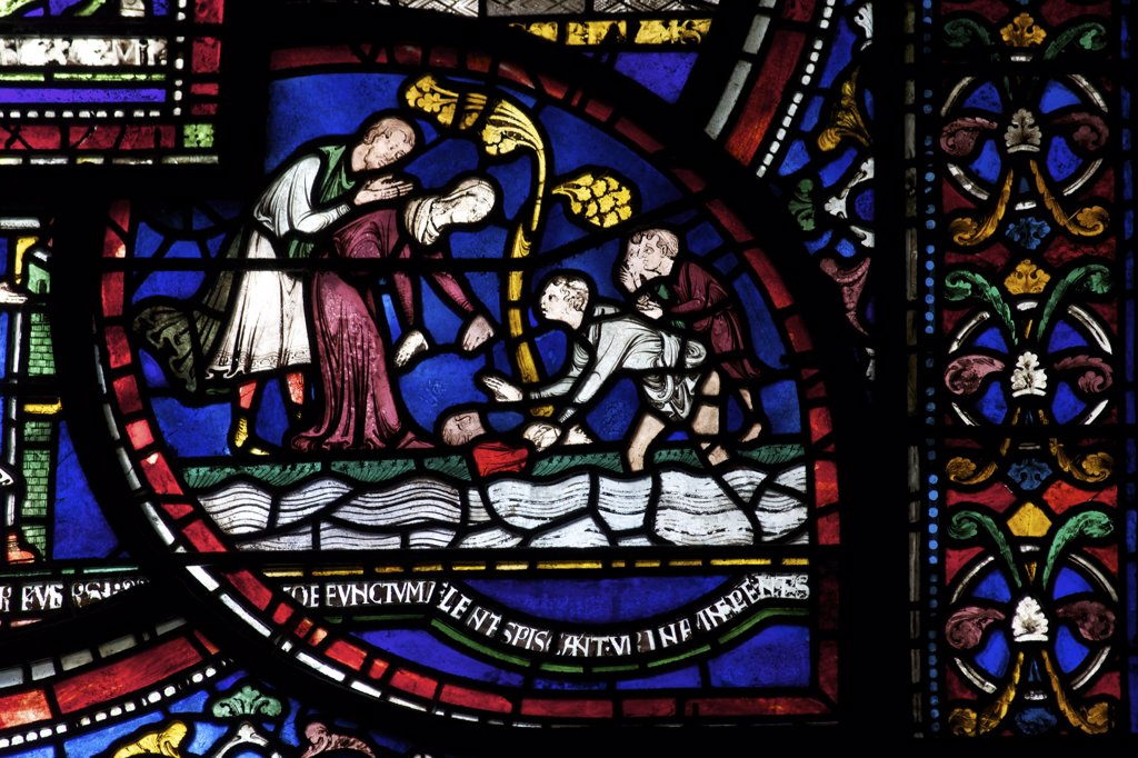 Stock Photo: 4042-1845 United Kingdom, Kent, Canterbury Cathedral, Trinity Chapel Ambulatory, Becket Miracle Window 6, Philip Scot and Frogs, Medieval stained glass