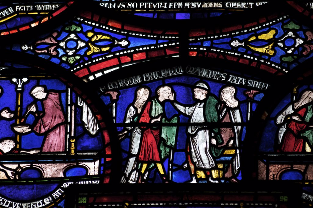 Stock Photo: 4042-1854 United Kingdom, Kent, Canterbury Cathedral, Trinity Chapel Ambulatory, Cure of Richard of Sunieve, Becket Miracle Window 6, medieval stained glass