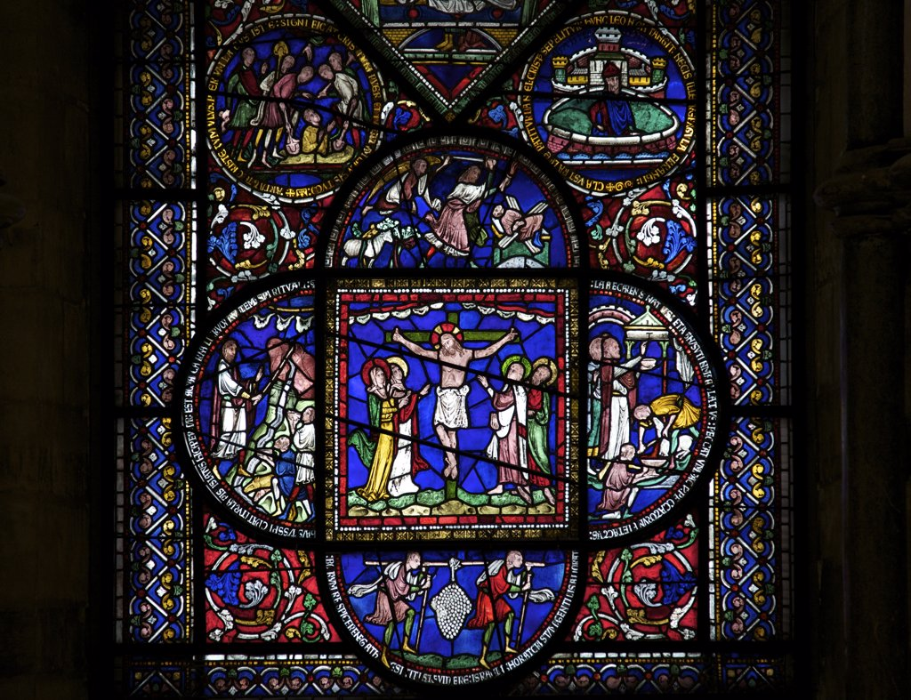 Stock Photo: 4042-1860 United Kingdom, Kent, Canterbury Cathedral, Corona Redemption Window, Crucifixion, Medieval stained glass
