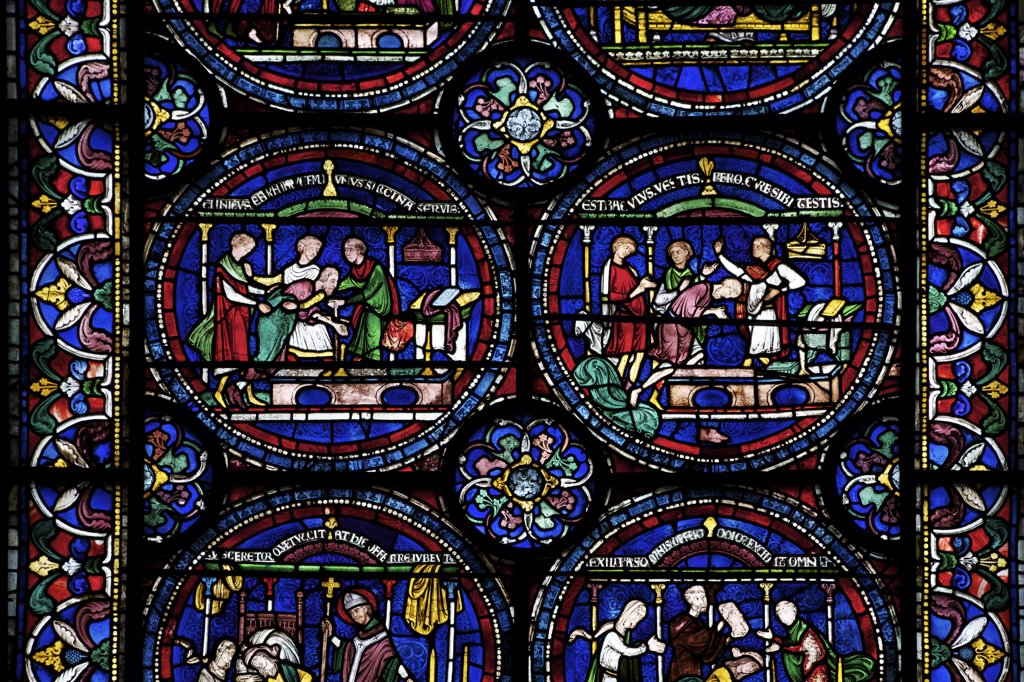 Stock Photo: 4042-1864 United Kingdom, Kent, Canterbury Cathedral, Trinity Chapel Ambulatory, North Ambulatory n.IV, Cure of Robert of Cricklade, medieval stained glass