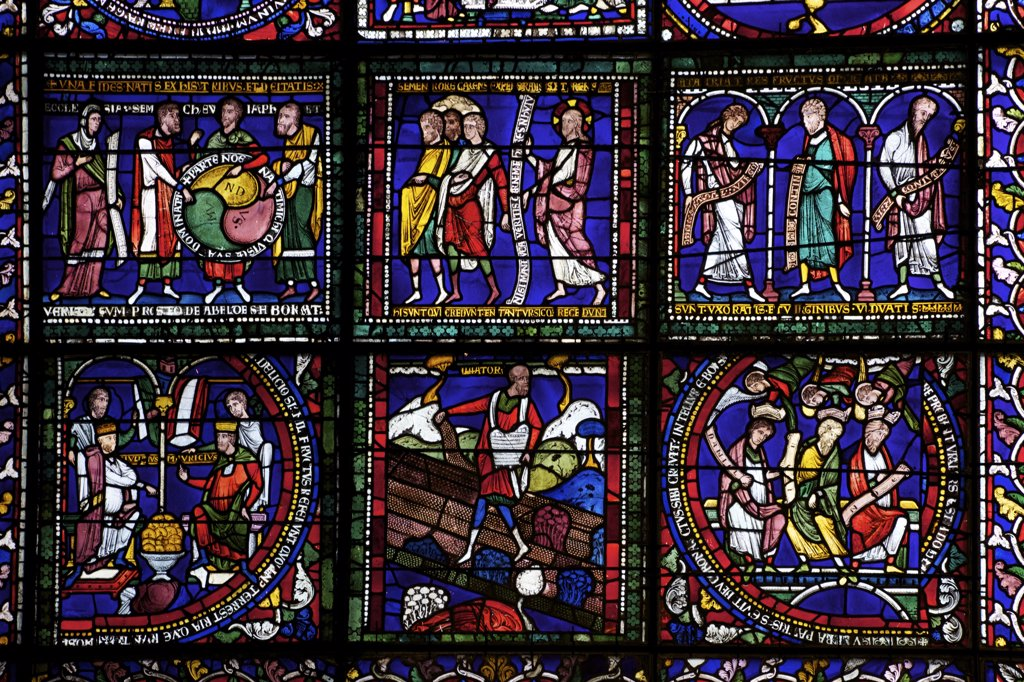 Stock Photo: 4042-1873 United Kingdom, Kent, Canterbury Cathedral, North Quire Isle n.XV, Sixth Typological Window, Sower on Good Ground and Among Thorns, medieval stained glass