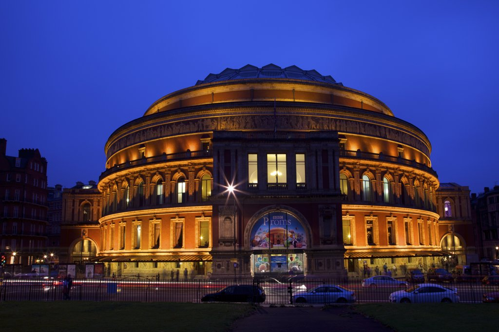 Stock Photo: 4042-1887 United Kingdom, England, London, South Kensington, Royal Albert Hall in evening
