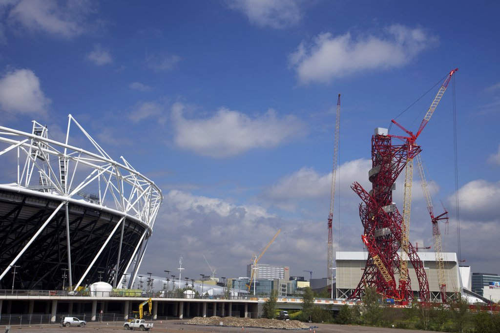 United Kingdom, England, London, East End, Stratford, Construction site of Olympic Stadium : Stock Photo