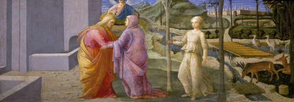 Stock Photo: 4042-1899 The Meeting at the Golden Gate by Fra Filippo Lippi, circa 1440,England, Oxford, Oxford University, Ashmolean Museum