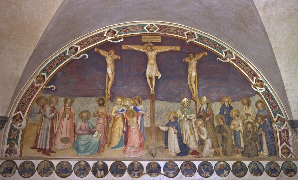 Stock Photo: 4042-1910 Crucifixion with Saints, Fra Beato Angelico, 1441-1442, Chapter House, Convent of San Marco, Florence, Tuscany, Italy, Europe