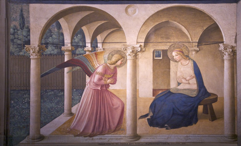 Stock Photo: 4042-1911 The Annunciation, Fra Beato Angelico, circa 1440, Convent of San Marco, Florence, Tuscany, Italy, Europe