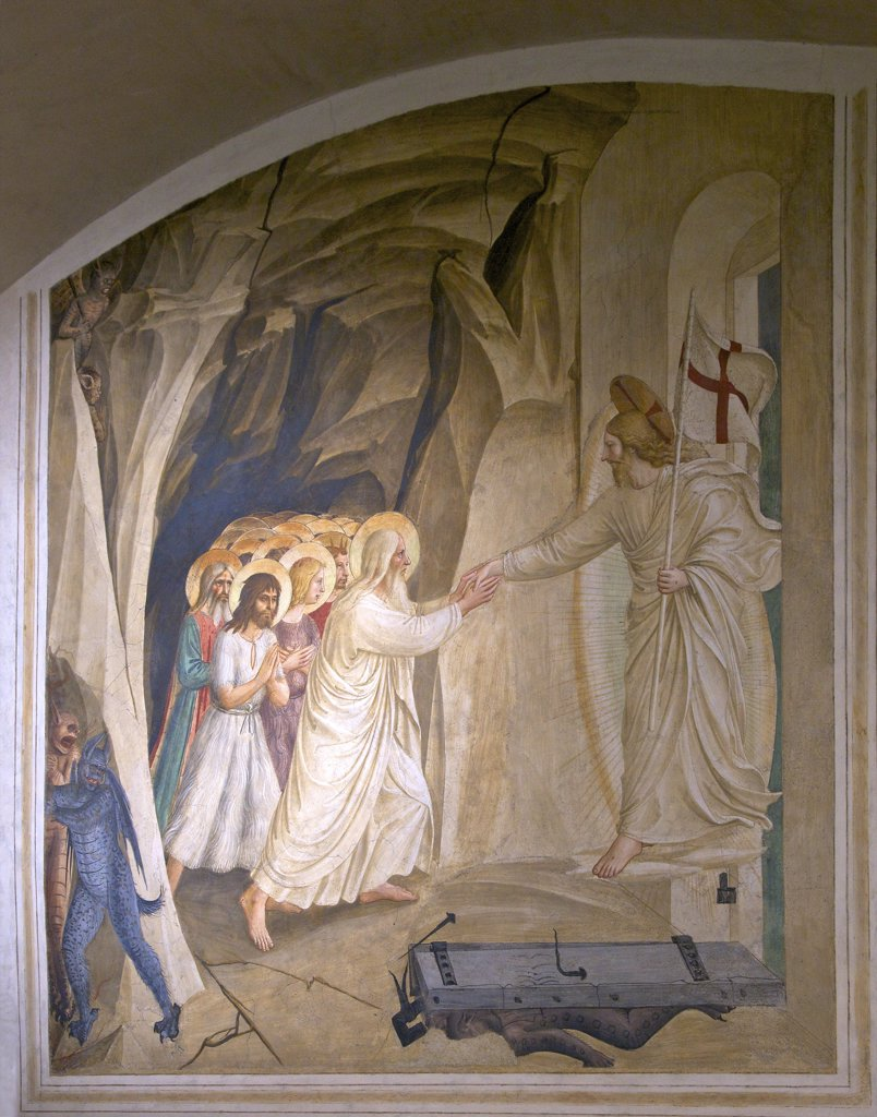 Christ in Limbo, circa 1450, in dormitory cell 31, by Fra Beato Angelico, Convent of San Marco, Florence, Tuscany, Italy, Europe : Stock Photo