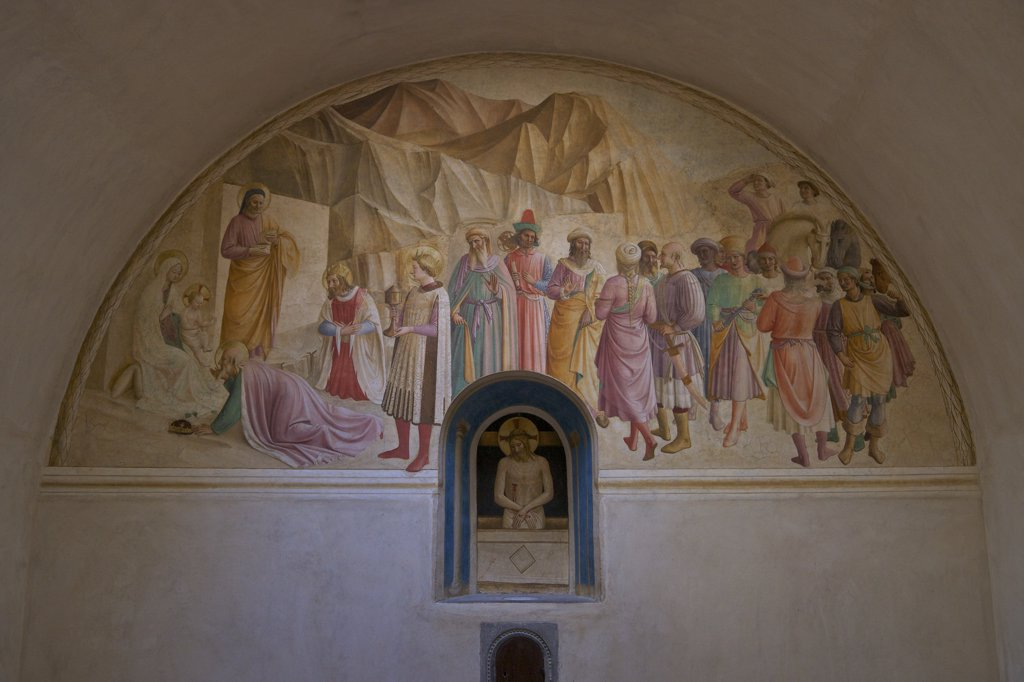 Stock Photo: 4042-1913 Adoration of the Magi, by Benozzo Gozzoli and Fra Angelico, 1438-1445, dormitory cell number 39, Convent of San Marco, Florence, Tuscany, Italy, Europe