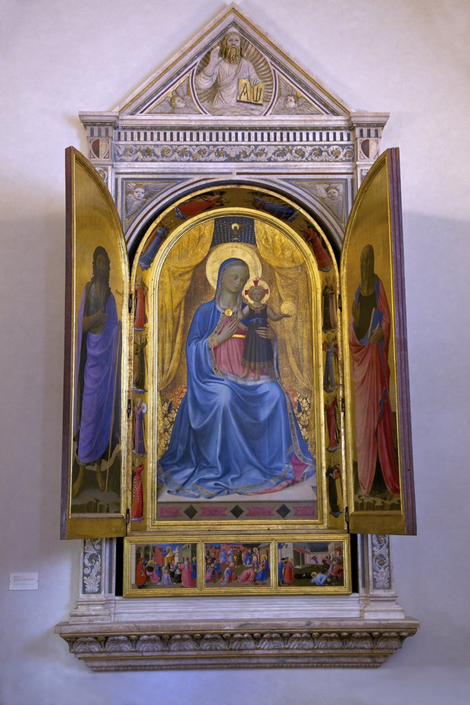 Virgin and Child Making the Blessing, Linaiuoli Tabernacle, by Fra Beato Angelico, 1433, Convent of San Marco, Florence, Tuscany, Italy, Europe : Stock Photo