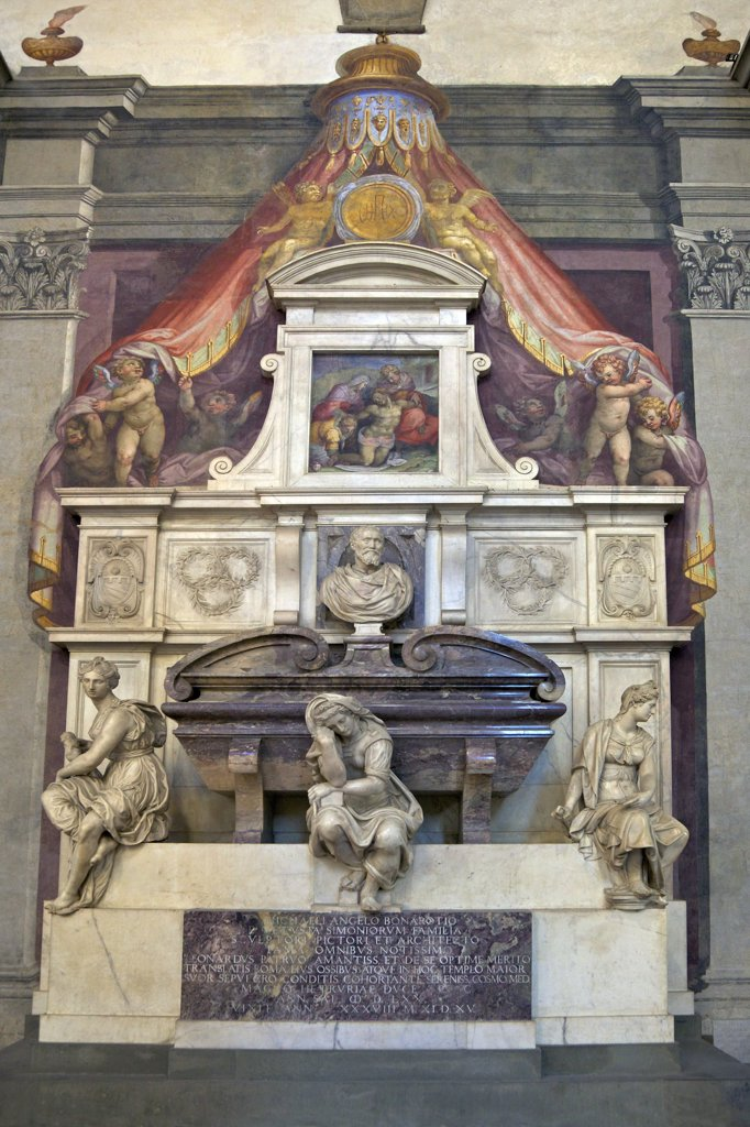Tomb of Michelangelo, designed by Vasari, 1570, Santa Croce church, Florence, Tuscany, Italy, Europe : Stock Photo