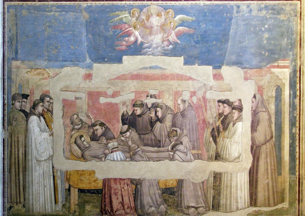 The Death of St. Francis and Inspection of Stigmata. circa 1320, by Giotto, Bardi Chapel, Basilica of Santa Croce, Florence, Tuscany, Italy, Europe : Stock Photo