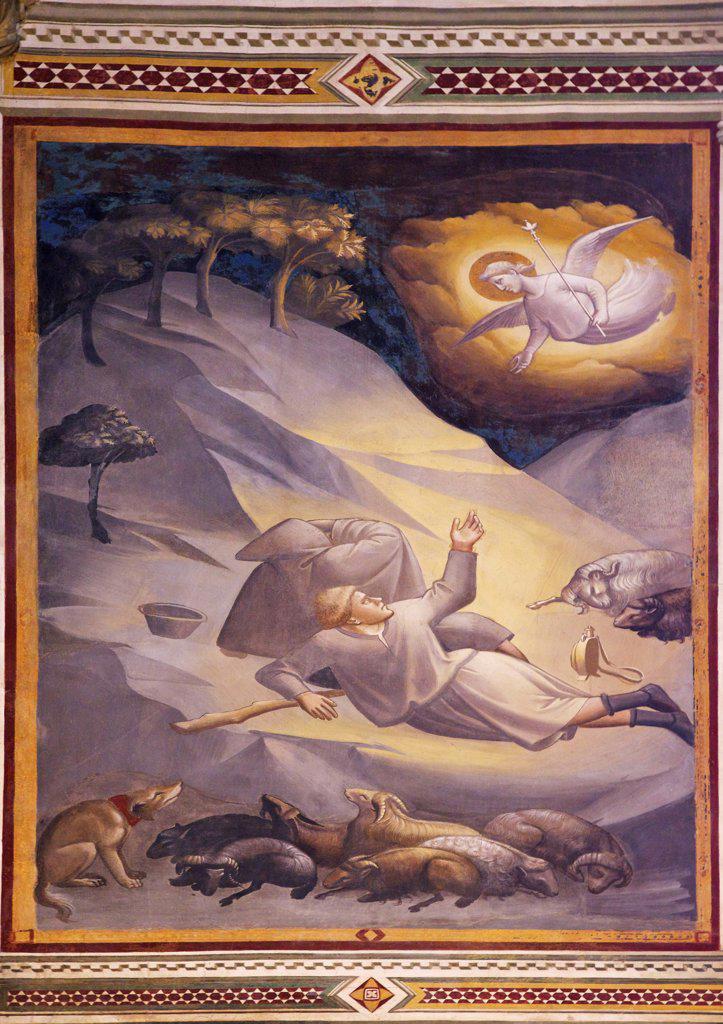 Fresco of angels summoning the shepherds near Bethlehem, by Taddeo Gaddi, Baroncelli Chapel, Basilica of Santa Croce, Florence, Tuscany, Italy, Europe : Stock Photo