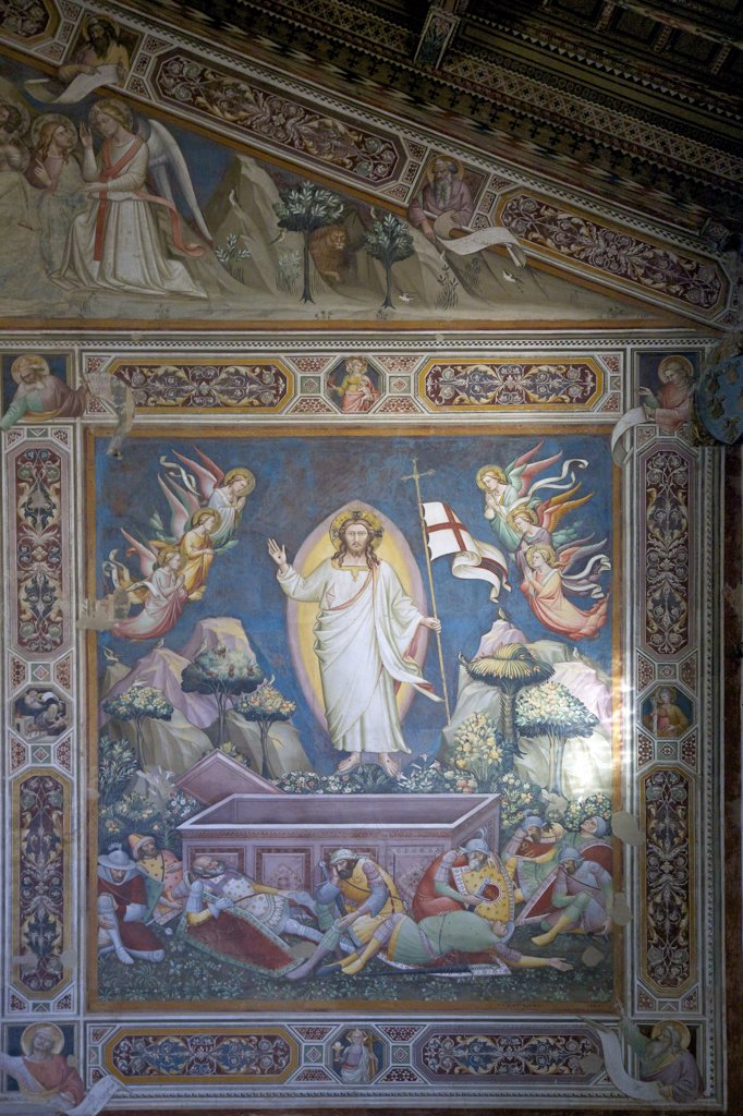 Resurrection fresco, by Niccolo di Pietro Gerini, Rinuccini Chapel, Sacristy, Basilica of Santa Croce, Florence, Tuscany, Italy, Europe : Stock Photo
