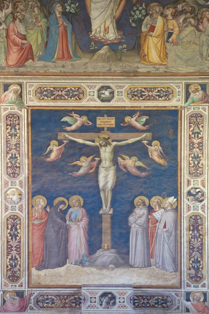Stock Photo: 4042-1927 Crucifixion fresco by Taddeo Gaddi, Rinuccini Chapel, Sacristy, Basilica of Santa Croce, Florence, Tuscany, Italy, Europe