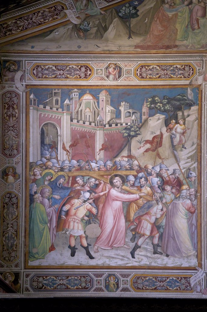 Ascent to Calvary fresco, perhaps by Spinello Aretino, Sacristy, Rinuccini Chapel, Basilica of Santa Croce, Florence, Tuscany, Italy, Europe : Stock Photo