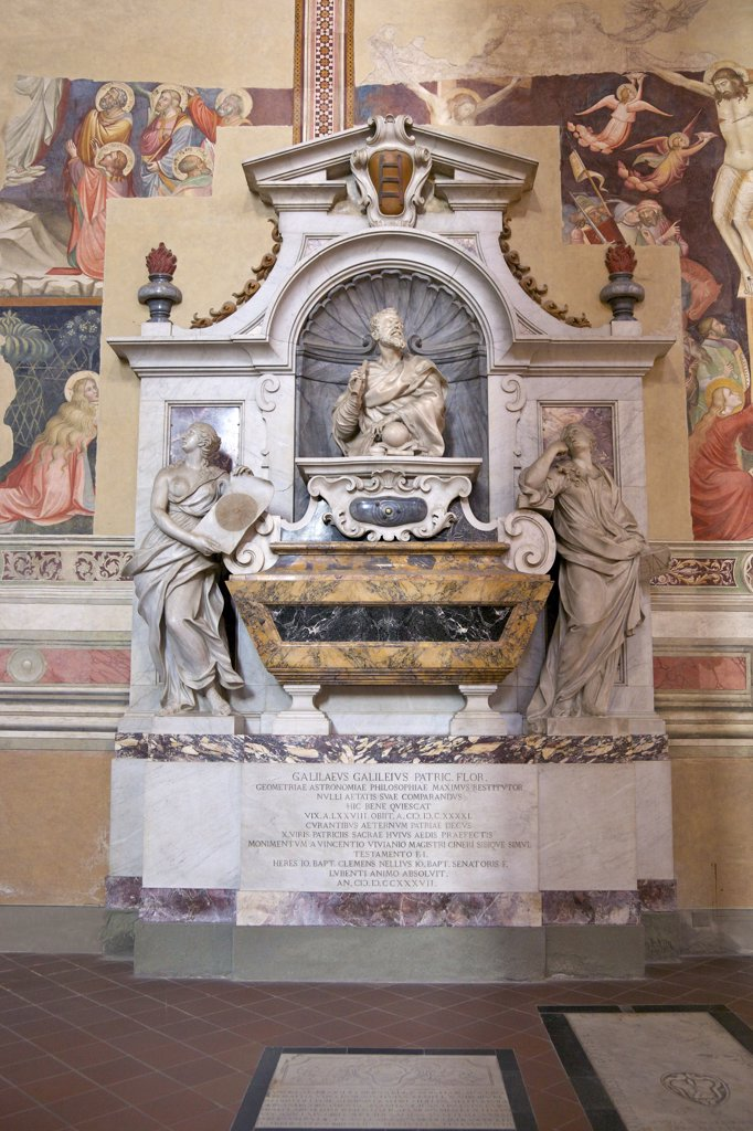 Stock Photo: 4042-1930 Tomb of Galileo, Basilica of Santa Croce, Florence, Tuscany, Italy, Europe