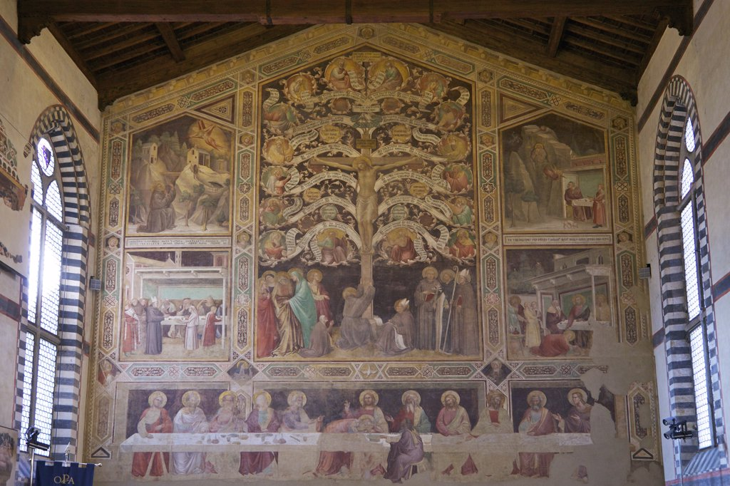 Frescos of the Last Supper and Tree of Life, by Taddeo Gaddi, circa 1335, Large Refectory, Basilica of Santa Croce, Florence, Tuscany, Italy, Europe : Stock Photo