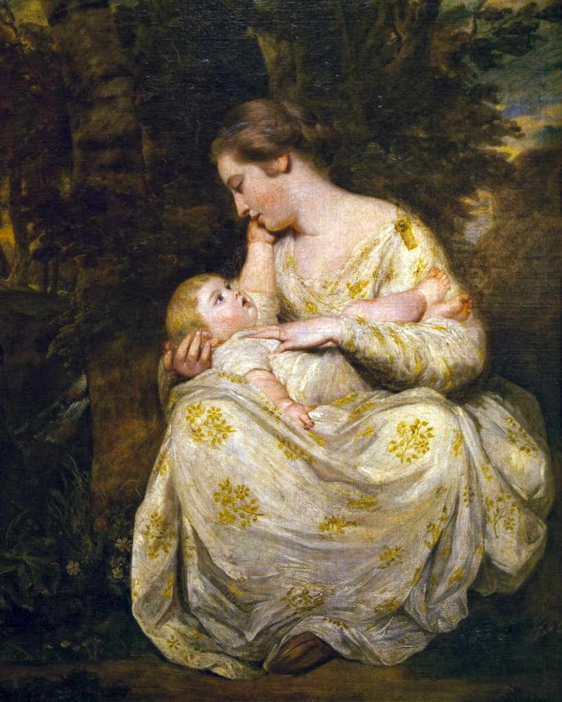 Mrs Richard Hoare with her child by Sir Joshua Reynolds, Wallace Collection, London, United Kingdom : Stock Photo