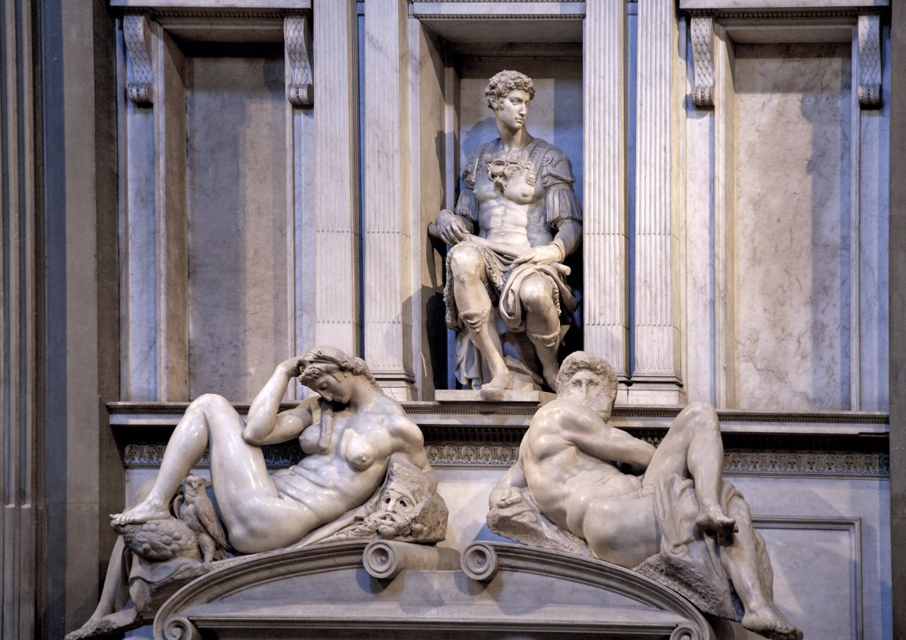 Stock Photo: 4042-1945 Tomb of Giuliano de' Medici, Night, 1524-31, marble sculpture by Michelangelo, Medici Chapel, San Lorenzo, Florence, Tuscany, Italy, Europe