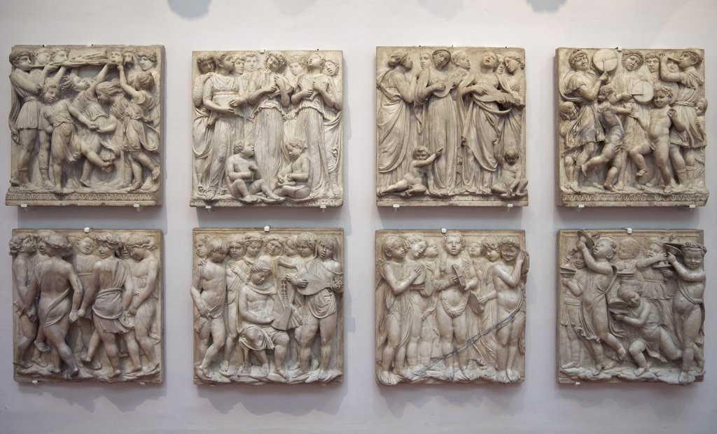 Original marble panels from the cantoria by Luca della Robbia, Museo dell'Opera del Duomo, Florence, Tuscany, Italy, Europe : Stock Photo