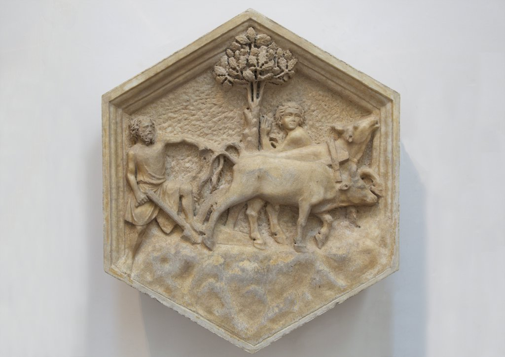 Stock Photo: 4042-1961 Agriculture, by Andrea Pisano, 1334-1336, original relief from the Campanile, Museo dell'Opera del Duomo, Florence, Tuscany, Italy, Europe