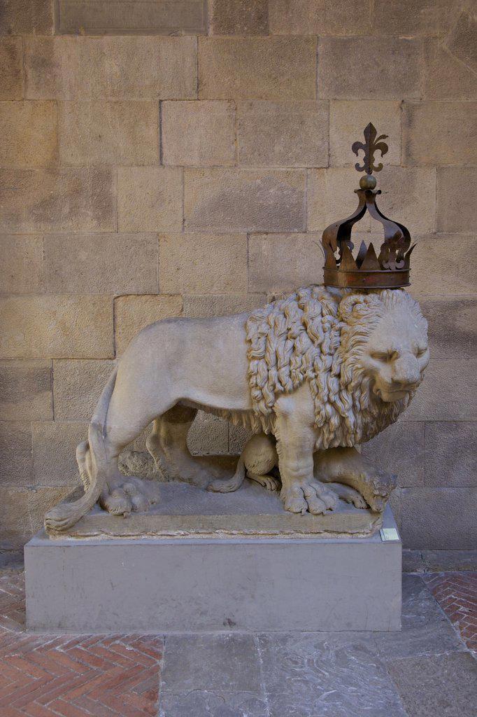Ornamental lion, Bargello, Florence, Tuscany, Italy, Europe : Stock Photo