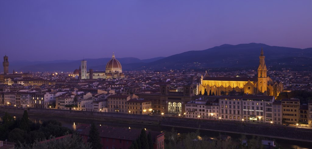 Stock Photo: 4042-1971 Duomo Santa Maria Del Fiore at dawn viewed from Piazzale Michelangelo, Florence, Tuscany, Italy