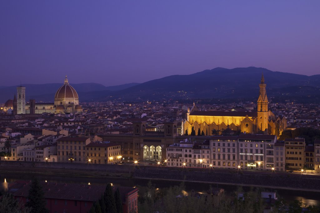 Stock Photo: 4042-1973 High angle view of Duomo Santa Maria Del Fiore and Church of Santa Croce at dawn viewed from Piazzale Michelangelo, Florence, Tuscany, Italy