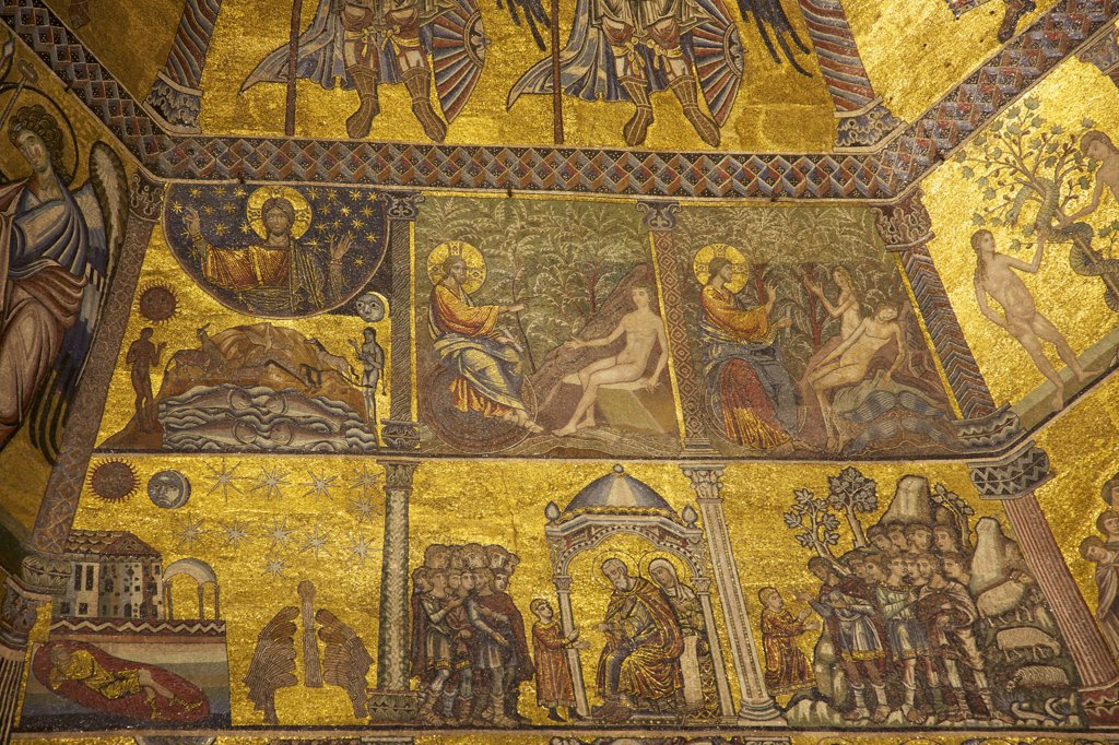 Stock Photo: 4042-1979 Scenes from Genesis, old testament, 13th Century mosaics, cupola ceiling, Baptistry, Florence, Tuscany, Italy, Europe