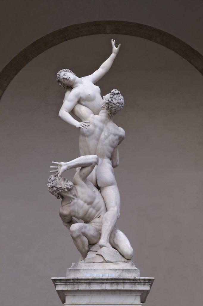 Stock Photo: 4042-1983 Rape of the Sabine Women, marble sculpture by Giambologna, 1583, Loggia dei Lanzi, Piazza della Signoria, Florence, Tuscany, Italy, Europe