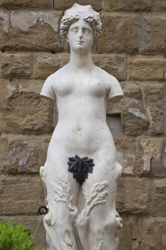 Stock Photo: 4042-1986 Marble statue of female nude outside Palazzo Vecchio, Piazza della Signoria, Florence, Tuscany, Italy, Europe