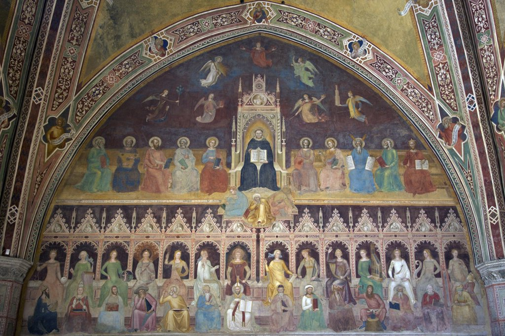 Triumph of St Thomas and Allegory of the Sciences, by Andrea di Bonaiuto, 1365-1367, Spanish Chapel, Cappellone degli Spagnoli, Basilica of Santa Maria Novella, Florence, Tuscany, Italy, Europe : Stock Photo
