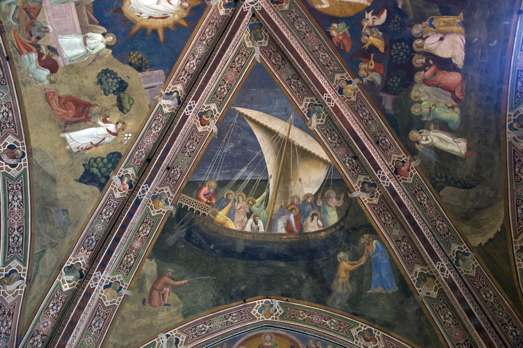 Stock Photo: 4042-2009 The boat of Peter, by Andrea di Bonaiuto, 1365-1367, Spanish Chapel, Cappellone degli Spagnoli, Basilica of Santa Maria Novella, Florence, Tuscany, Italy, Europe