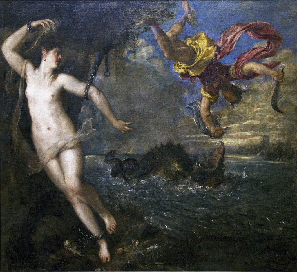 Stock Photo: 4042-201 Perseus and Andromeda by Titian, 1473, Wallace Collection, London, United Kingdom