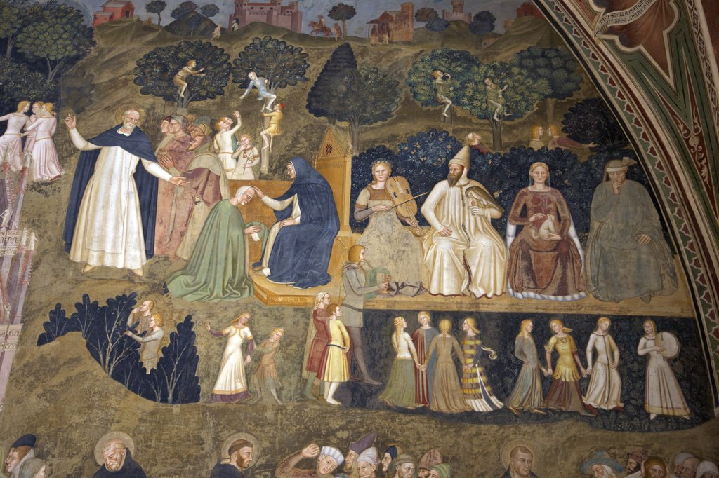 Stock Photo: 4042-2011 Scenes of Earthly Life and the Sacrament of Penitence, by Andrea di Bonaiuto, 1365-1367, Spanish Chapel, Cappellone degli Spagnoli, Basilica of Santa Maria Novella, Florence, Tuscany, Italy, Europe