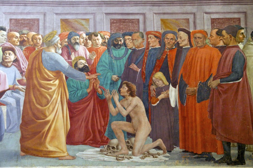 Raising the Emperor's Son, by Masaccio, Brancacci Chapel, Cappella dei Brancacci, Church of Santa Maria del Carmine, Florence, Tuscany, Italy, Europe : Stock Photo