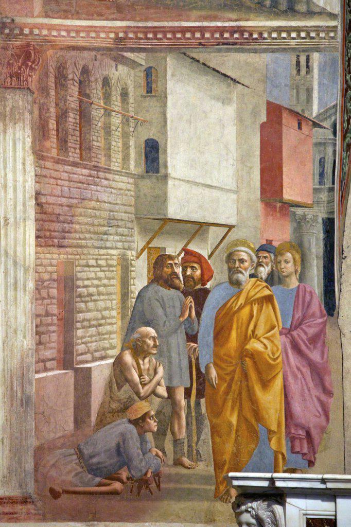 Stock Photo: 4042-2022 St Peter Heals the Sick, by Masaccio, Brancacci Chapel, Cappella dei Brancacci, Church of Santa Maria del Carmine, Florence, Tuscany, Italy, Europe