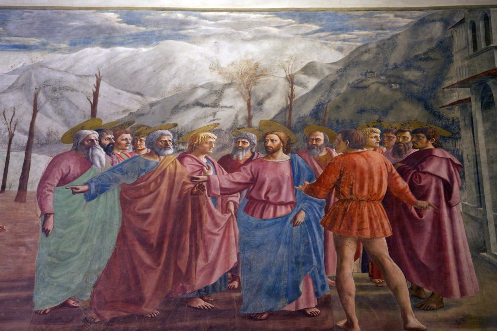 Stock Photo: 4042-2024 The Tribute Money, by Masaccio, Brancacci Chapel, Cappella dei Brancacci, Church of Santa Maria del Carmine, Florence, Tuscany, Italy, Europe
