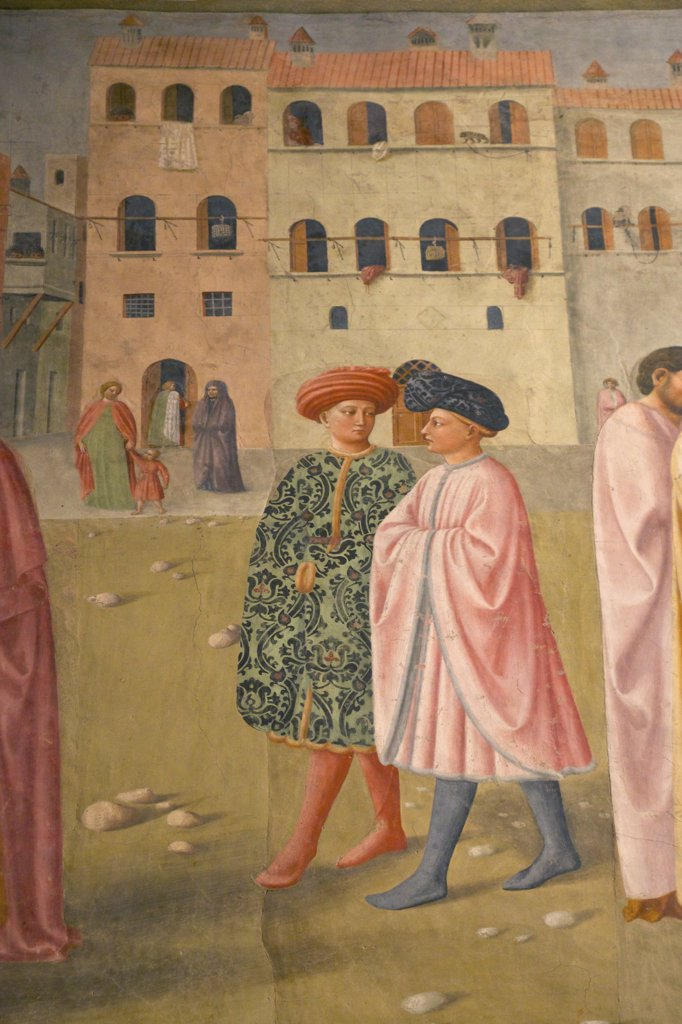 Stock Photo: 4042-2026 Detail of two figures from St Peter healing the cripple, raising Tabitha, by Masolino, 1425, Brancacci Chapel, Cappella dei Brancacci, Church of Santa Maria del Carmine, Florence, Tuscany, Italy, Europe