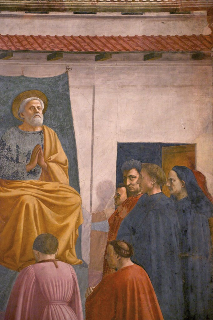 Stock Photo: 4042-2027 St. Peter Enthroned, by Masaccio, completed by Filippino Lippi, Brancacci Chapel, Cappella dei Brancacci, Church of Santa Maria del Carmine, Florence, Tuscany, Italy, Europe