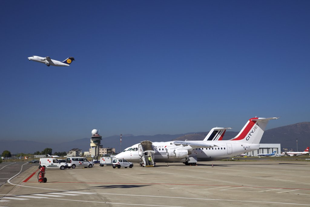 Cityjet aircraft at an airport, Florence Airport, Florence, Tuscany, Italy : Stock Photo