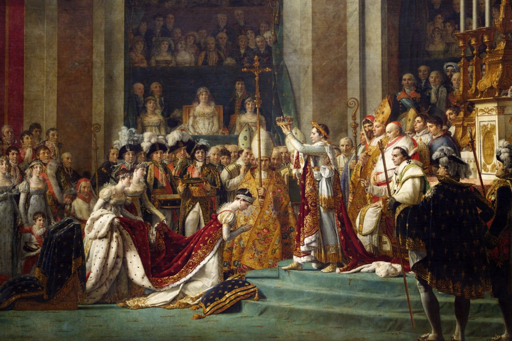 Stock Photo: 4042-2059 Emperor Napoleon at Coronation of Empress Josephine in Notre Dame Cathedral, 2nd December 1804, by Louis David, 1806
