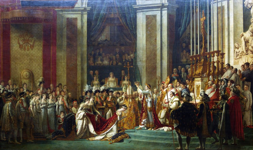 Emperor Napoleon at Coronation of Empress Josephine in Notre Dame Cathedral, 2nd December 1804, by Louis David, 1806 : Stock Photo