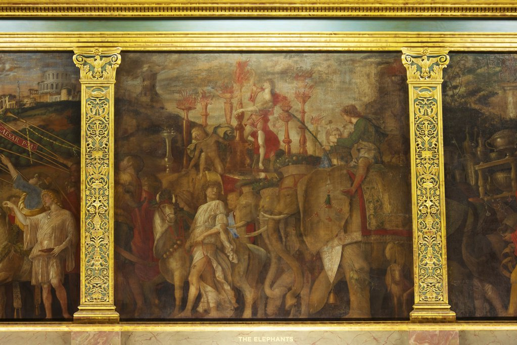 Great Britain, United Kingdom, England,  Surrey,  London, Hampton Court Palace, Elephants, from Triumphs of Caesar, by Andrea Mantegna : Stock Photo