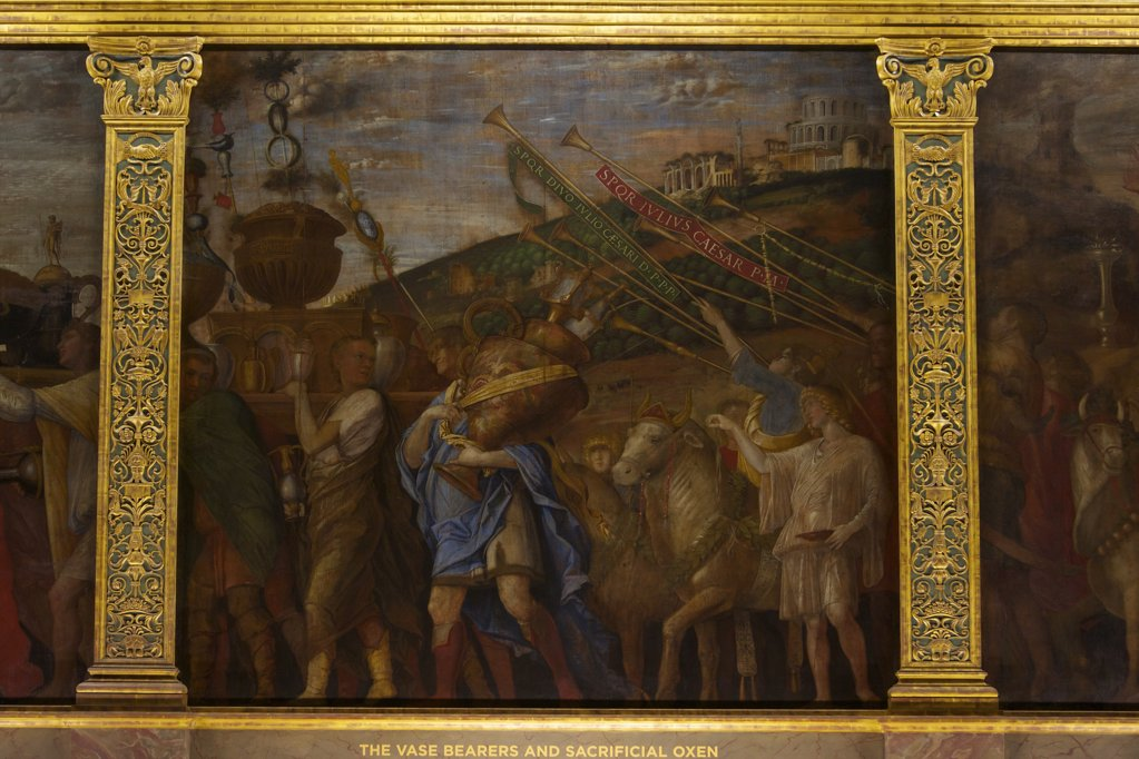 Stock Photo: 4042-2063 Great Britain, United Kingdom, England,  Surrey,  London, Hampton Court Palace, Vase Bearers and Sacrificial Oxen, from Triumphs of Caesar, by Andrea Mantegna