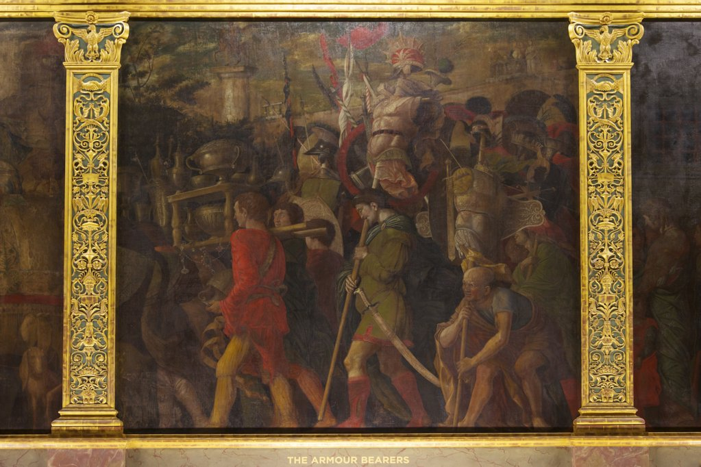 Great Britain, United Kingdom, England,  Surrey,  London, Hampton Court Palace, Armour Bearers, from Triumphs of Caesar, by Andrea Mantegna : Stock Photo