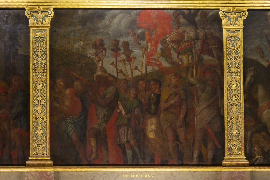 Musicians, from the Triumphs of Caesar, by Andrea Mantegna, Hampton Court Palace, London, Surrey, England, UK, United Kingdom, GB, Great Britain, British Isles, Europe : Stock Photo